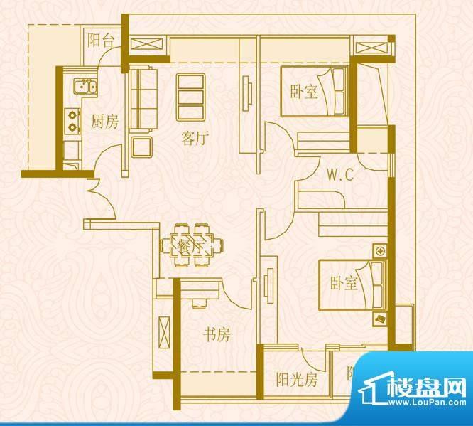国金时代户型2三室两面积:89.00平米