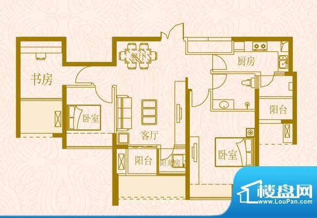 国金时代户型5三室两面积:89.00平米