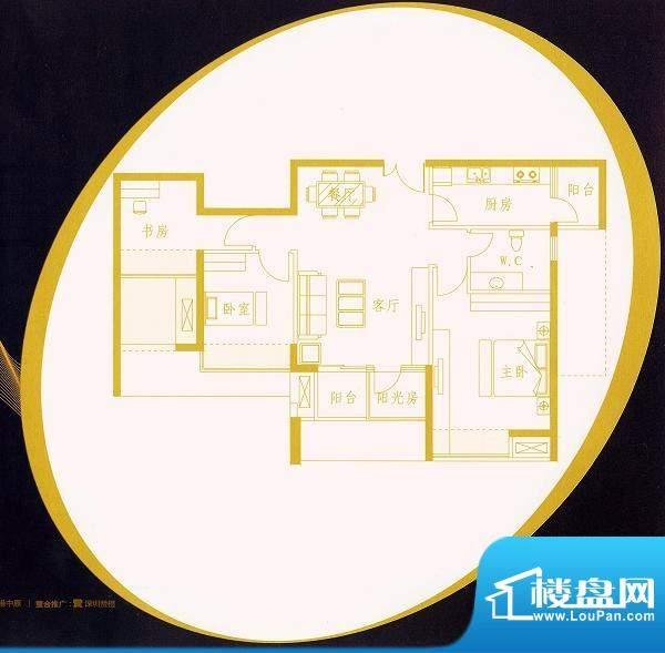国金时代B1户型 3室面积:89.80平米