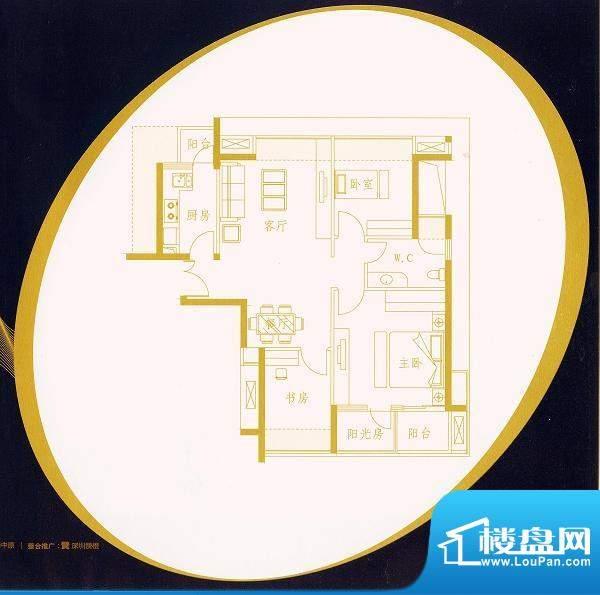 国金时代B2户型 3室面积:89.89平米