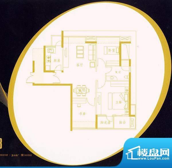 国金时代C1户型 3室面积:89.57平米