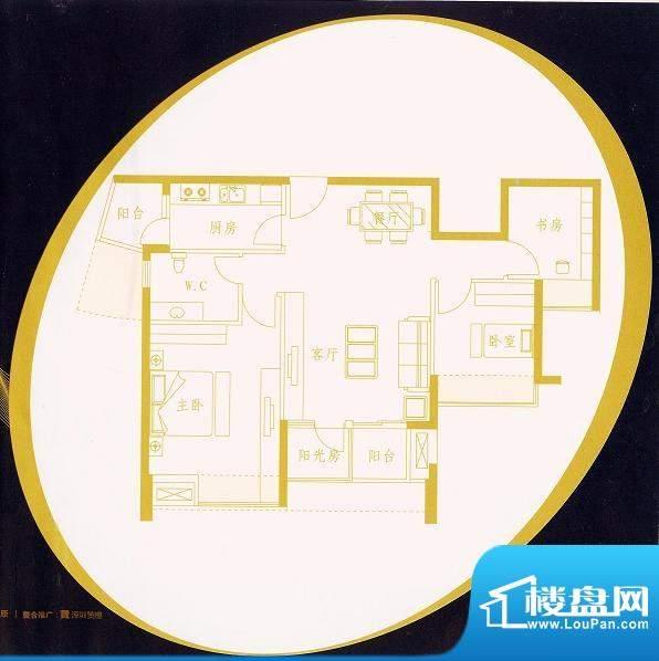 国金时代C2户型 3室面积:89.53平米
