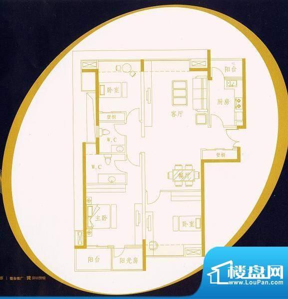 国金时代A1户型 3室面积:133.64平米