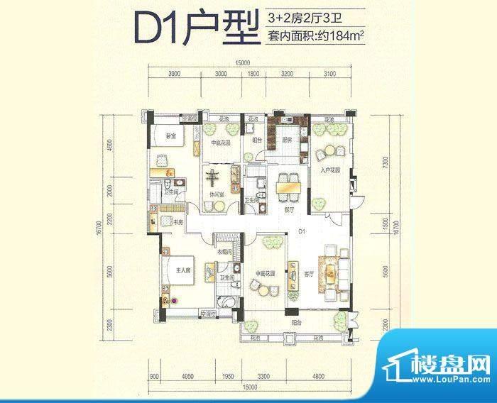 美的翰城D1户型(20面积:183.39平米