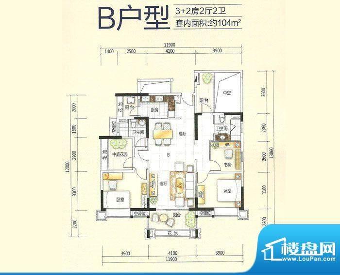 美的翰城B户型(201面积:104.47平米