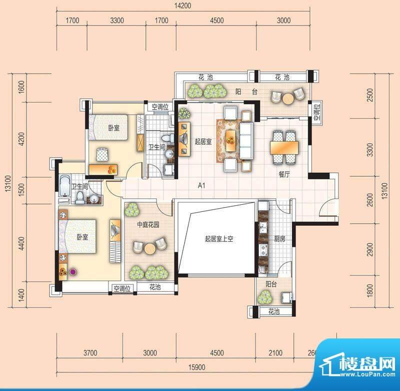 美的翰城A1 2室2厅2面积:108.00平米