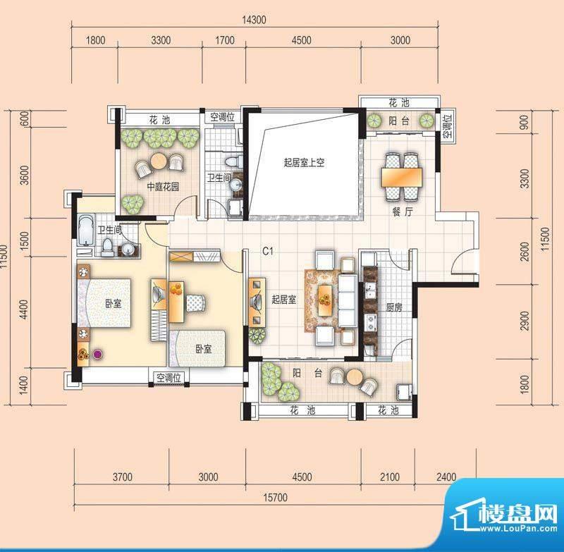 美的翰城C1 2室2厅2面积:108.00平米