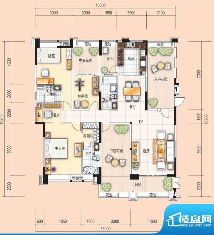美的翰城D1 2室2厅3面积:184.00平米