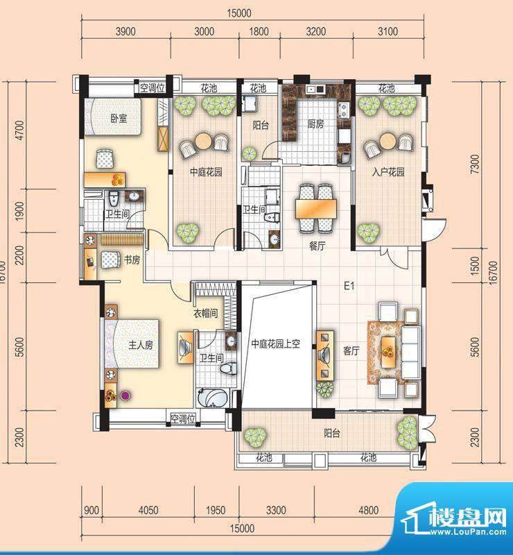 美的翰城E1 2室2厅3面积:164.00平米