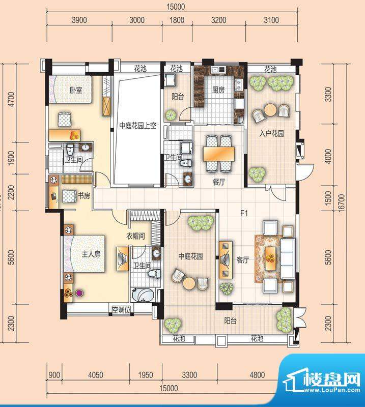 美的翰城F1 2室2厅3面积:169.00平米