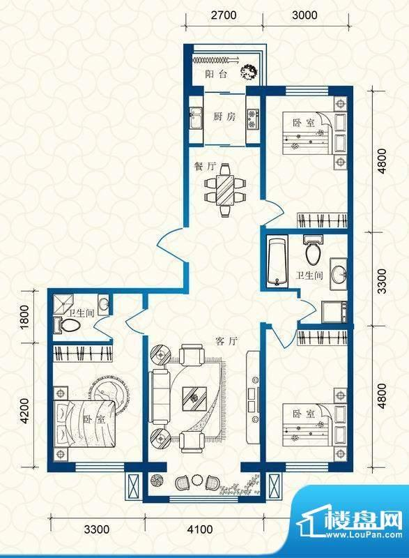 蔚蓝国际d户型图 3室面积:133.93平米