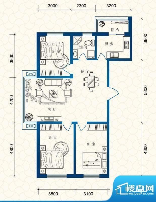 蔚蓝国际c户型图 3室面积:118.59平米