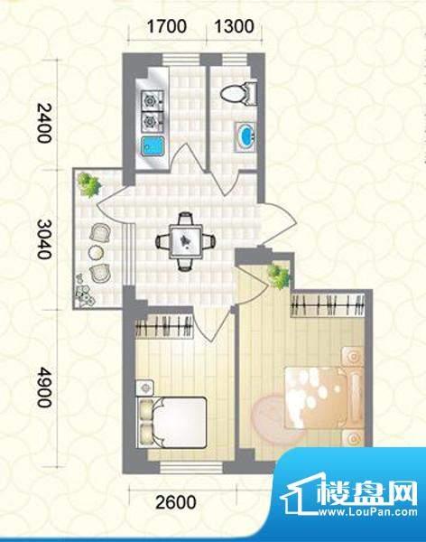 蔚蓝国际I户型图 2室面积:67.76平米