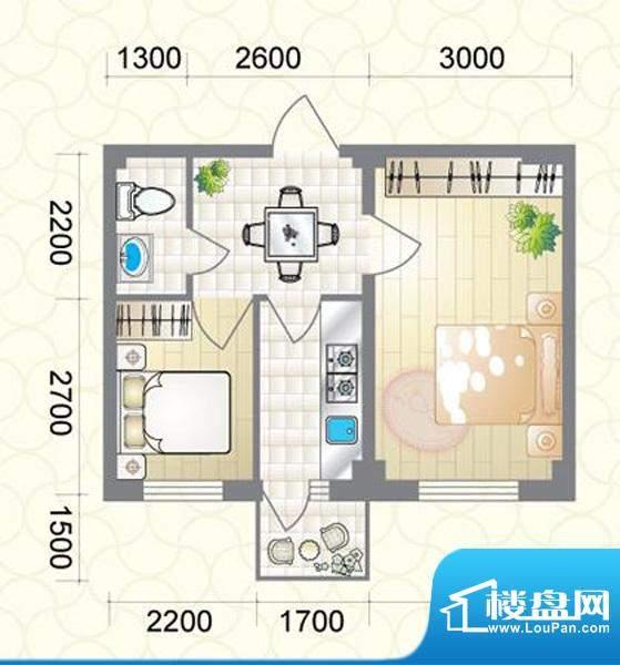 蔚蓝国际G户型图 2室面积:54.31平米