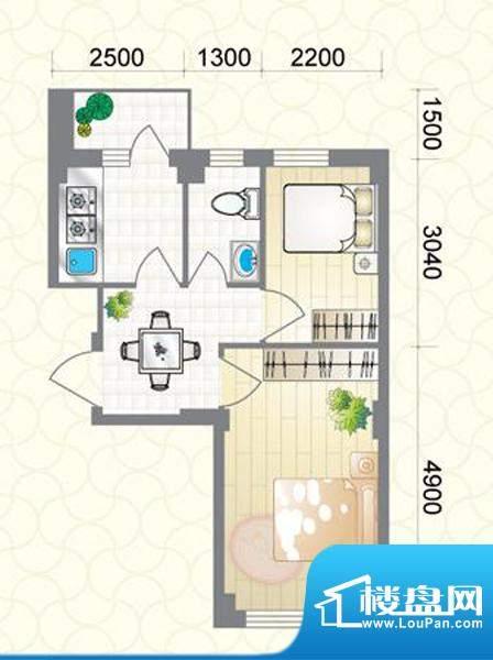 蔚蓝国际H户型图 2室面积:56.61平米