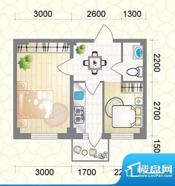 蔚蓝国际E户型图 2室面积:51.77平米