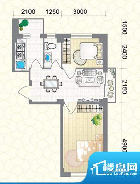 蔚蓝国际D户型图 2室面积:65.40平米