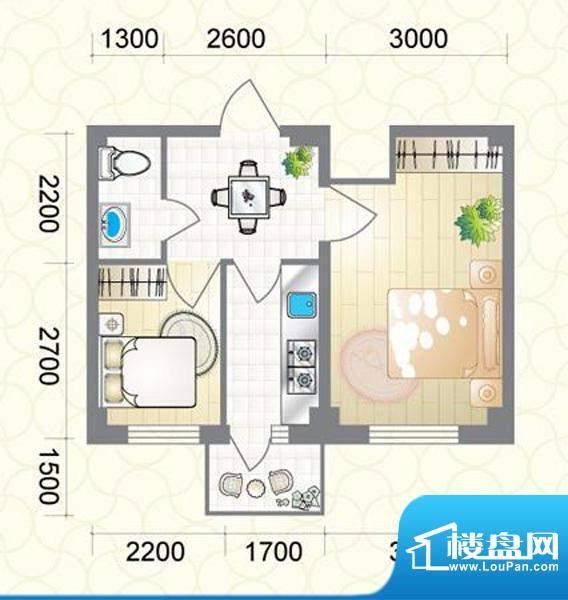 蔚蓝国际C户型图 2室面积:50.85平米