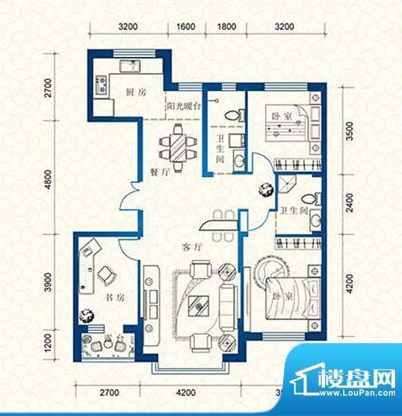 蔚蓝国际B户型 3室2面积:126.55平米