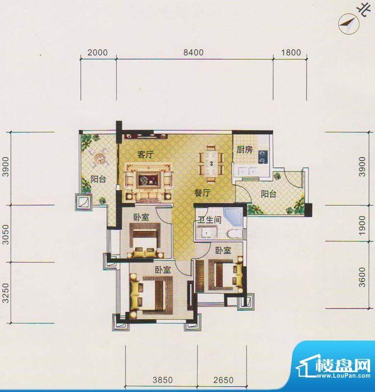 北江明珠1座03单元面积:90.00平米