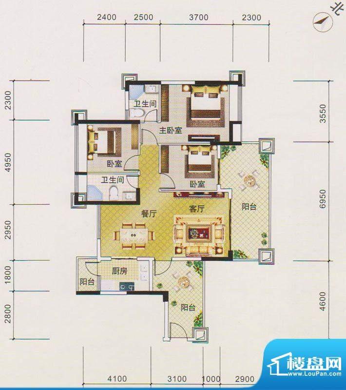 北江明珠1座02单元面积:118.00平米