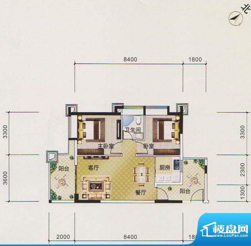 北江明珠1座04单元面积:74.00平米