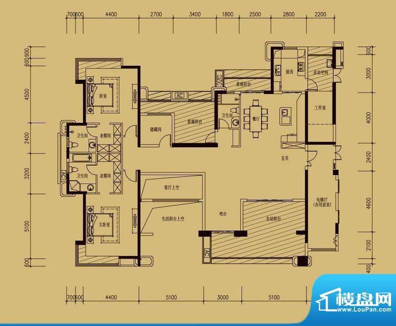依云天汇A01户型 4室面积:260.00平米