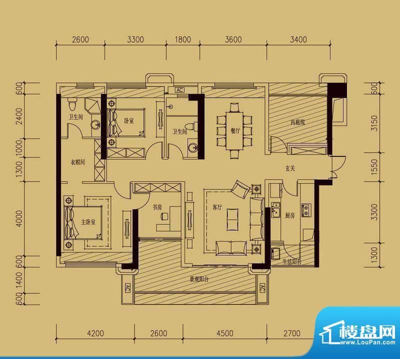 依云天汇B01户型 3室面积:155.00平米