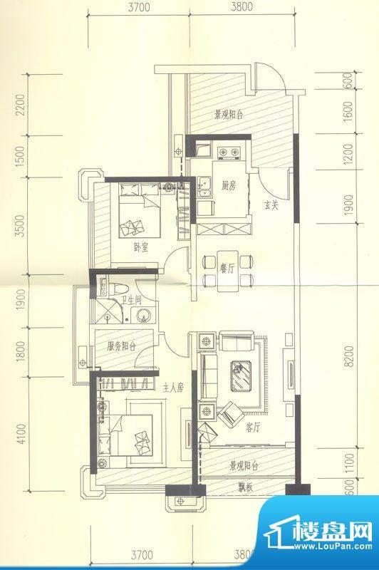 依云天汇C04 2室2厅面积:103.00平米