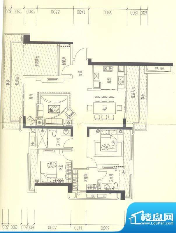 依云天汇C01 2室2厅面积:140.00平米