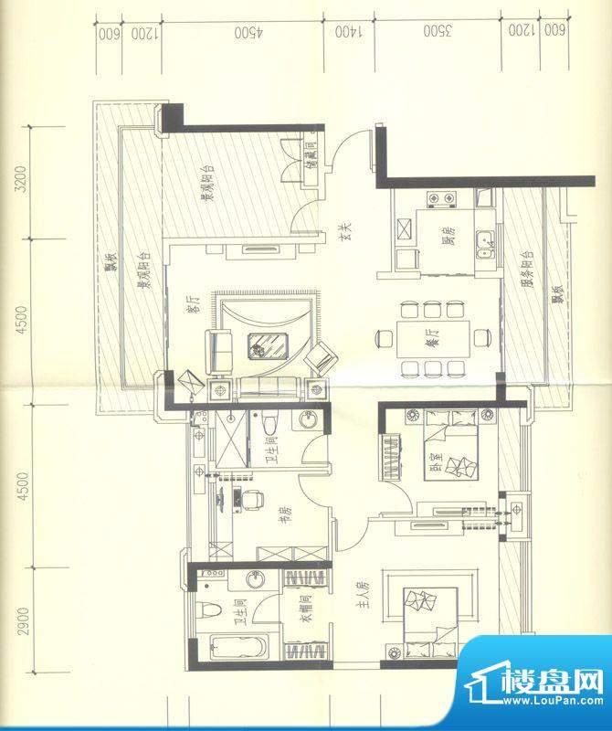 依云天汇D02 3室2厅面积:158.00平米