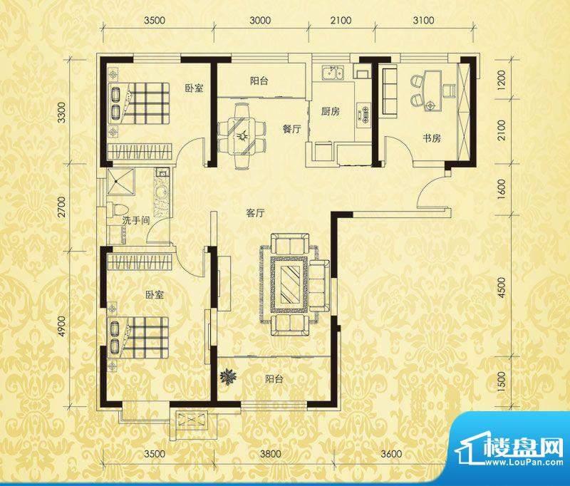 恒盛豪庭H-1户型图 面积:128.00平米