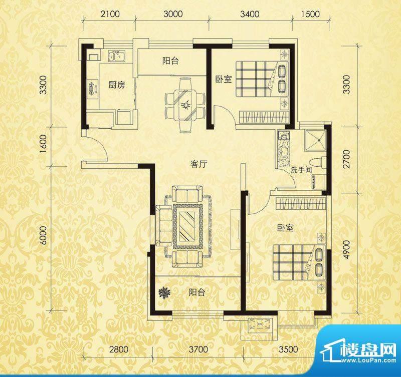 恒盛豪庭H-4户型图 面积:111.00平米