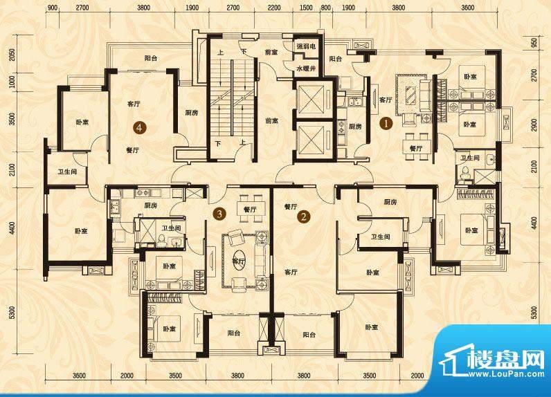 恒大名都3#楼一单元面积:96.19平米