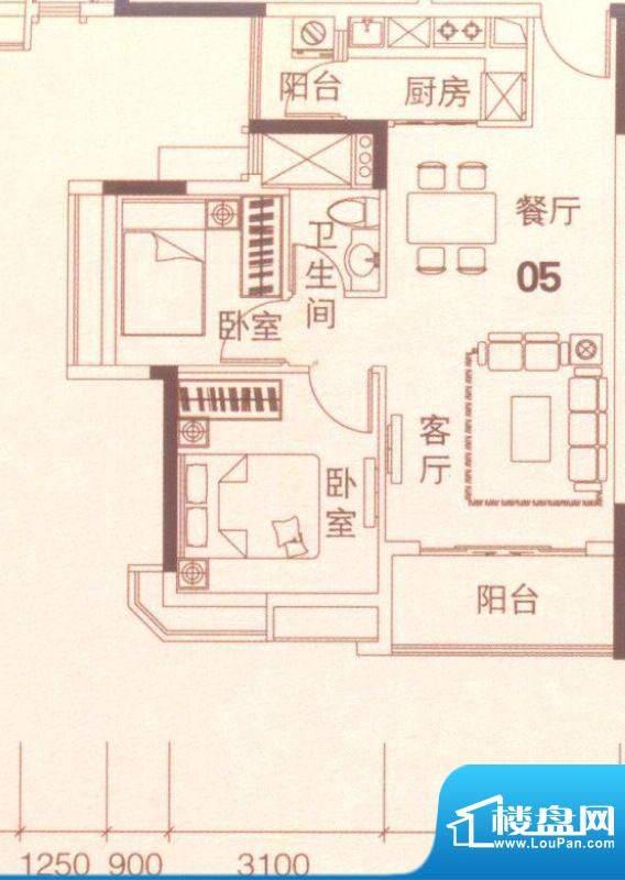 上林苑20栋1、2座05面积:67.00平米