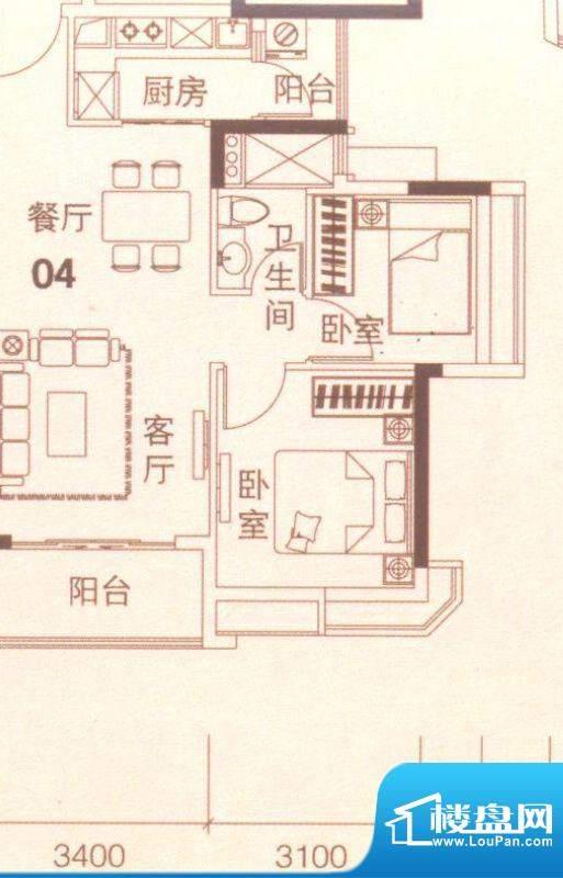 上林苑20栋1、2座04面积:67.00平米