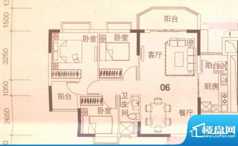 上林苑20栋1、2座06面积:91.00平米