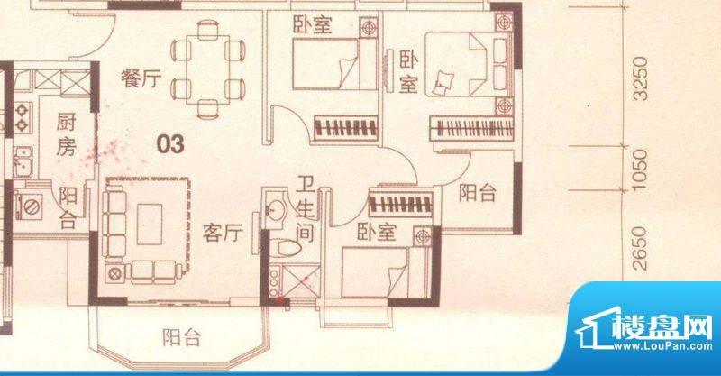 上林苑20栋1、2座03面积:91.00平米