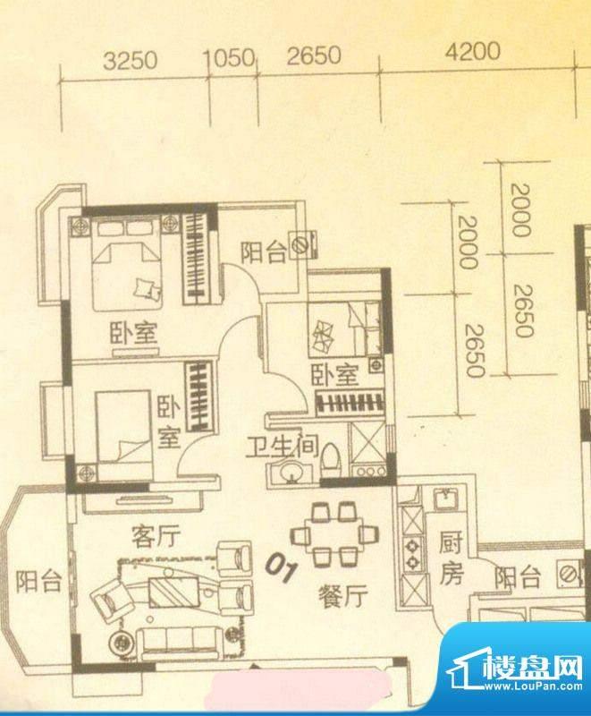 上林苑22栋2座01单位面积:91.00平米