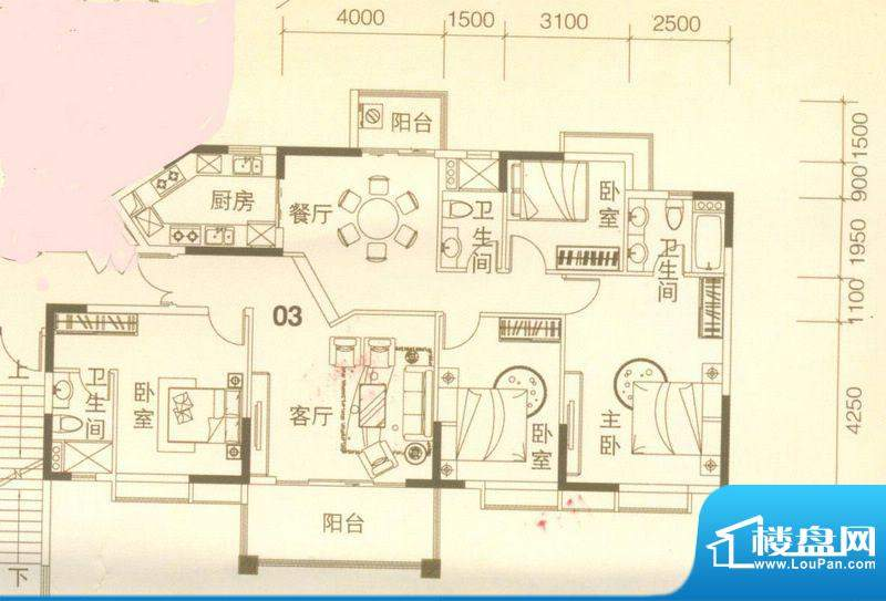 上林苑22栋2座03单位面积:161.00平米