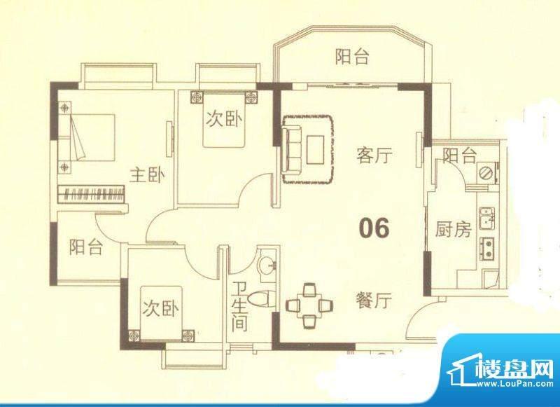 上林苑19栋4、5座06面积:91.00平米