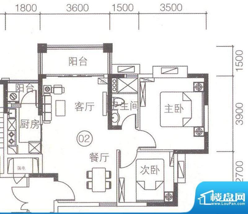 上林苑4栋2-18层02单面积:71.31平米