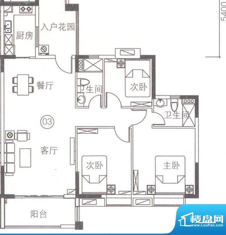 上林苑4栋2-18层03单面积:126.01平米