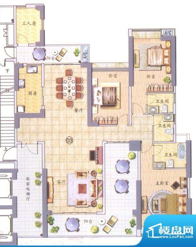 翠堤明珠03单元 3室面积:222.00平米