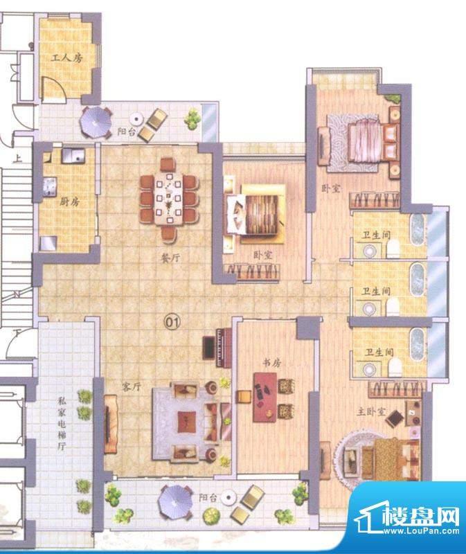翠堤明珠01单元 4室面积:234.00平米