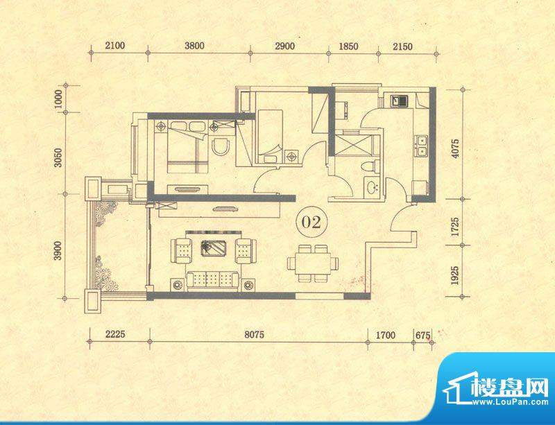 佛奥湾1座02单位 2室面积:88.65平米