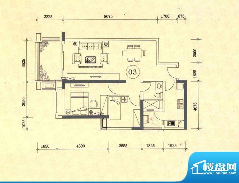 佛奥湾1座03单位 2室面积:88.00平米