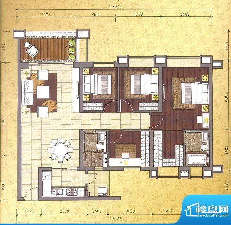 佛奥湾5座06单位 4室面积:142.70平米