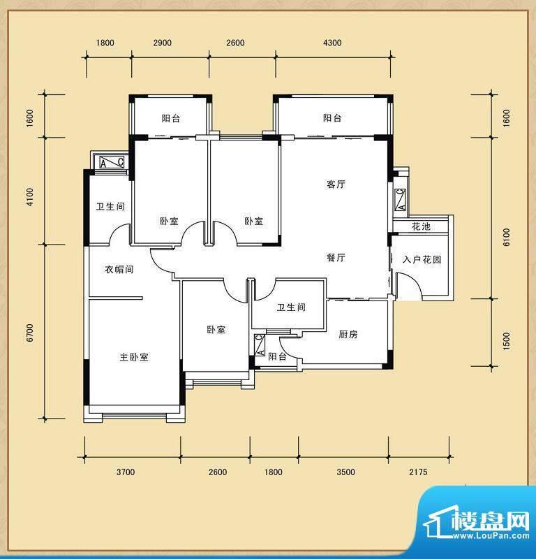 风度广场16座01单位面积:126.73平米