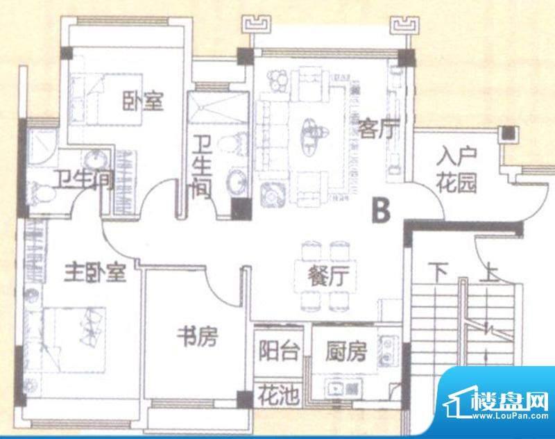 风度广场1栋5-9层B户面积:90.00平米
